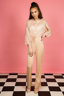 Vintage nude champagne gold lace Effect jumpsuit by Jerell