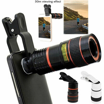 HD 12x Optical Telescope Camera Lens Zoom Clip-on For Mobile Phone Universal UK