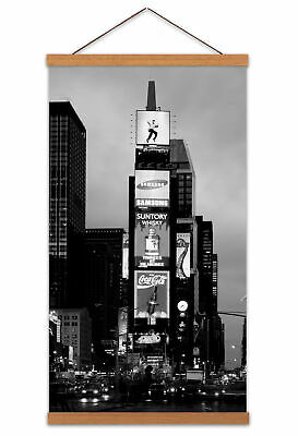 Times Square New York Canvas Wall Art Print Poster Magnetic Hanger 24x12 Inch