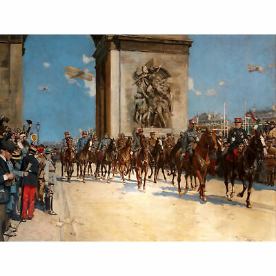 Flameng Victory Parade Arc Triomphe WWI War Painting Extra Large Art Poster