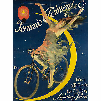 Pal Fernand Clement Bicycles Moon Advert Large Canvas Art Print