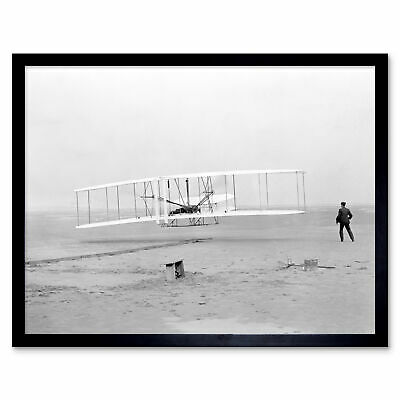 First Aeroplane Wright Flyer Brothers Old Photo Framed Wall Art Poster