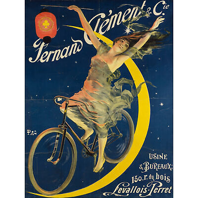 Pal Fernand Clement Bicycles Cycles Bike Moon Vintage Advert Large Canvas Print