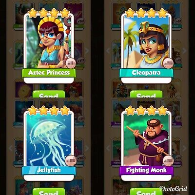 Coin master cards. Aztec princess, cleopatra, jellyfish, fighting monk.