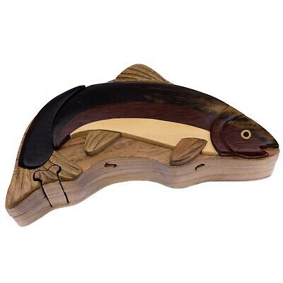 """Wood Intarsia Largemouth Bass Fish Magnet 4.25/"""" Long Handcrafted New!"""