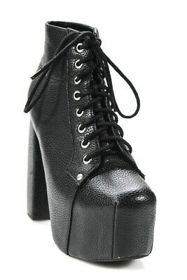 e5acad995e5a Jeffrey Campbell Womens Platform Leather Chunky Ankle Combat Boots Black  Size 8