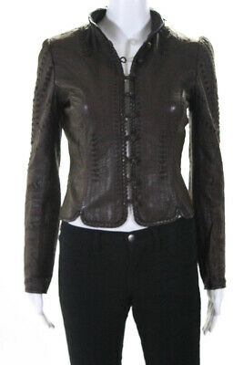 4cd9f64cf118 Elie Tahari Womens Leather Button Down Jacket Dark Brown Size Extra Small