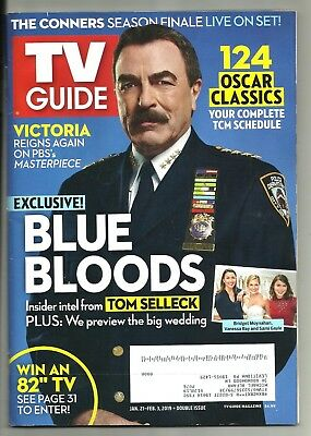 Tv Guide-1/2019-Tom Selleck-Blue Bloods-Outlander:season Finale-The Connors