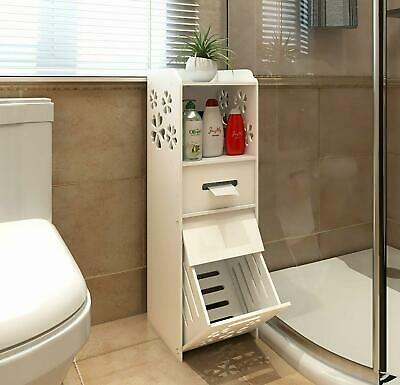 Slim Bathroom Storage Cabinet Floor Standing Narrow Cupboard Shelf Toilet White