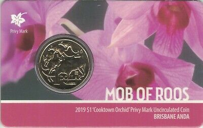 2019 Mob of Roos 'Cooktown Orchid' Privy, BRISBANE  ANDA SHOW SPECIAL $1 Coin