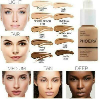Phoera Foundation Makeup Full Coverage Perfect Beauty Face Liquid Base Soft Long