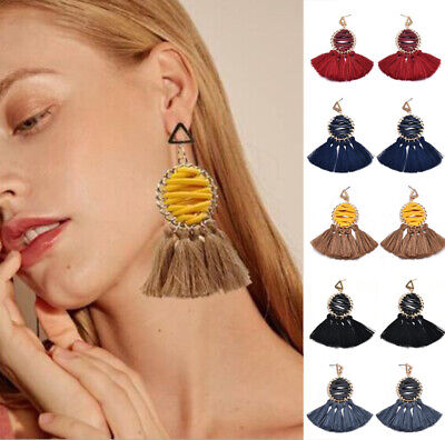Retro Ethnic Bohemian Long Tassel Fringe Boho Ear Stud Dangle Earrings Jewelry