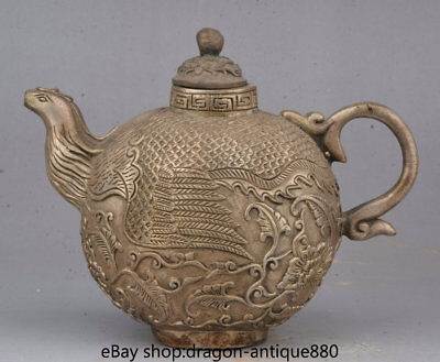 """6.8"""" Marked Old Chinese Silver Dynasty Phoenix Birds Zun Handle Wine Pot Flagon"""