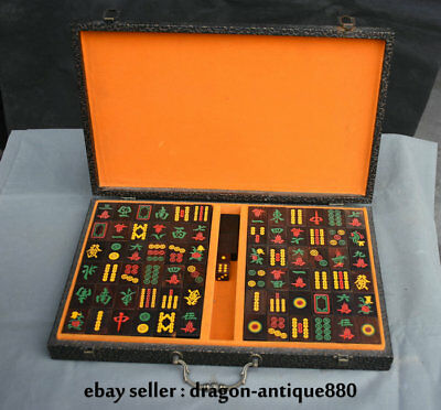 "1.6"" Collect Rare China Redwood Carving Entertainment Mahjong Sieve"