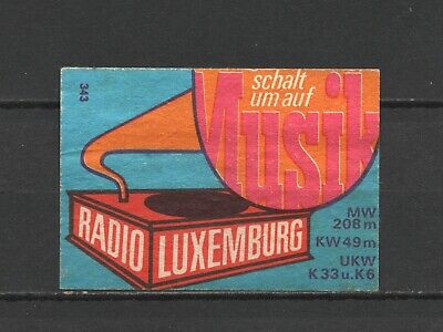 """Made in Luxembourg """"Radio Luxembourg"""" Old Vintage Matchbox Label"""