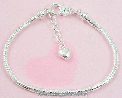 Silver Plated Lobster Clasp Snake Chain Charm Bracelet Fit European Bead P13
