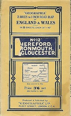 Geographia 1/2 inch map No.12 HEREFORD, MONMOUTH, GLOUCESTER
