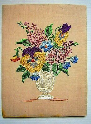 "Vintage Floral Embroidery on Linen 9"" x 12"""