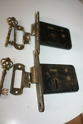Pair Of Antique French Mortice Door Locks With Keys