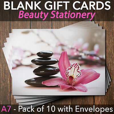 Gift Voucher Card Beauty Salon Spa Wellness Massage x10 + Envelopes
