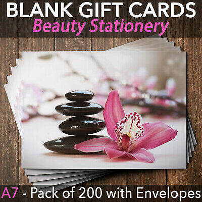 Gift Voucher Card Beauty Salon Spa Wellness Massage x200 + Envelopes