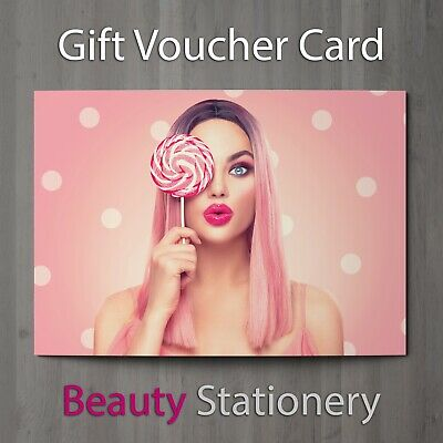 Gift Voucher Beauty Salon Blank Card Makeup Manicure Facial Treatment A7 + Env.