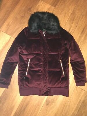 2386e87ad40 Ladies Size S (8-10) River Island Velvet Quilted Jacket Coat Faux Fur