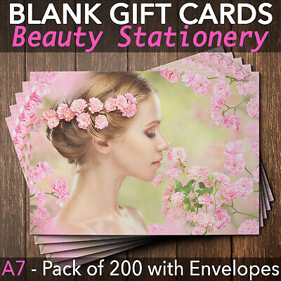 Gift Voucher Card Beauty Salon Spa Wellness Hairdresser Facial x200 + Envelopes