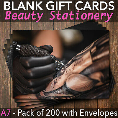 Gift Voucher Card Tattoo Salon Tattoo Removal Makeup Tattoo  x200 + Envelopes