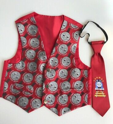 BHS Thomas The Tank Engine Logo Embossed Button Waistcoat Matching Tie Age 3 Yrs