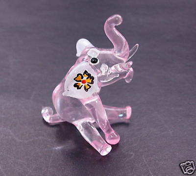 Glass ELEPHANT Tinted Glass Circus Animal,Glassware Pretty Tinted Pink Ornament