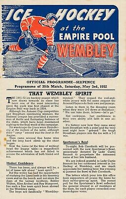 ICE HOCKEY PROGRAMME - Wembley Lions v Brighton Tigers 1952