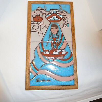 Framed Cleo Teissedre Handpainted Ceramic Tile Handcrafted In The Usa