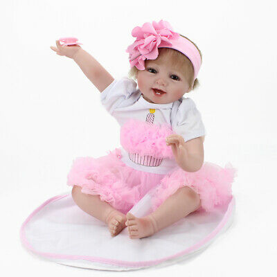 "22"" Handmade Lifelike Baby Girl Doll Silicone Vinyl Reborn Newborn Dolls+Dress"