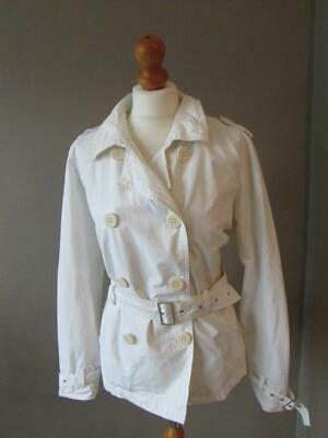 M & S AUTOGRAPH Ladies Cream Lightweight Spring Jacket Short Trench Coat Size 14