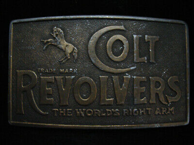 OA01169 VINTAGE 1970s **COLT REVOLVERS THE WORLDS RIGHT ARM** BRASSTONE BUCKLE