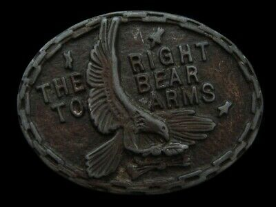 NF23105 VINTAGE 1970s **THE RIGHT TO BEAR ARMS** 2ND AMENDMENT GUN BELT BUCKLE