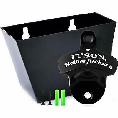 Wall Mount Beer Soda Bottle Opener Set with Mounted Removable Cap Catcher Bin