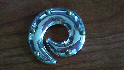 925 Sterling Silver Vintage Antique Finish Mexico Round Brooch 18.5 grams