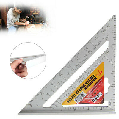 "7""Square Carpenter's Measuring Ruler Layout Triangle Angle Protractor Tools UK"