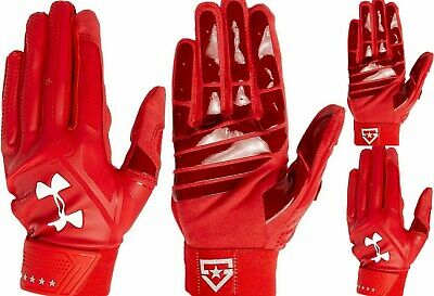 Under Armour men's UA $40 HEATER Baseball Batting Gloves  RED 1299540 size M