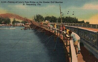 St. Petersburg, FL, Fishing Off John's Pass Bridge, 1957 Linen Postcard f4795