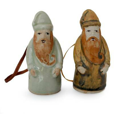 Vintage Thai Santa Claus Novica Celadon Ceramic Handcrafted Ornaments Set of 2
