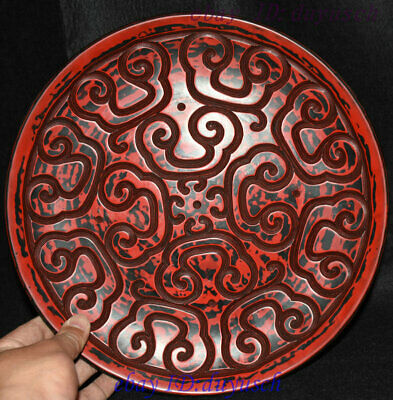 """12"""" Old Chinese Carved Lacquerware Craftwork cloud pattern tray plate screen"""