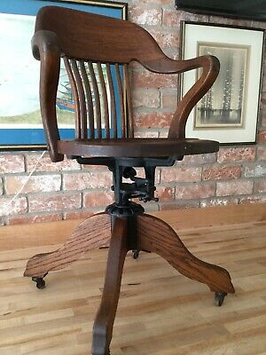 Antique Arts & Crafts Mission Oak Office Desk Chair By Milwaukee Chair Co