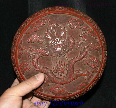 """8"""" Old Chinese Carved Lacquerware Craftwork Dragon pattern casket Jewelry Box"""