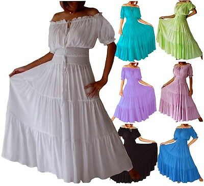 Womens Peasant Maxi Dress-Smocked Bodice Elastic-LotusTraders A7630 Plus Sizes