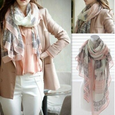 Voile Soft Long Scarf Eiffel Tower Printed Wrap Shawl Stole Scarves For Lady #N