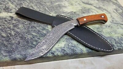 Novelty Mini Kukri Damascus Etch Fixed Blade Knife With sheath