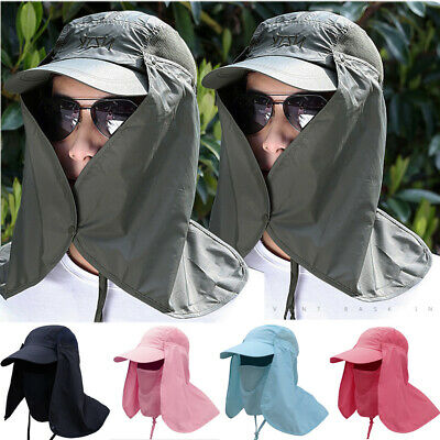 360°Outdoor Hat Cap Sun UV Protection Neck Flap Ear Face Cover Long Hat Fold Up